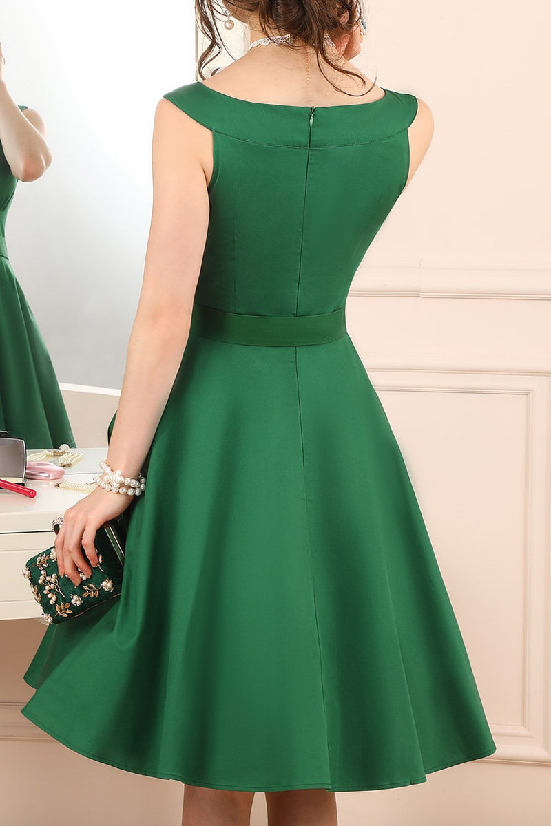 Load image into Gallery viewer, Green Solid Swing Dress