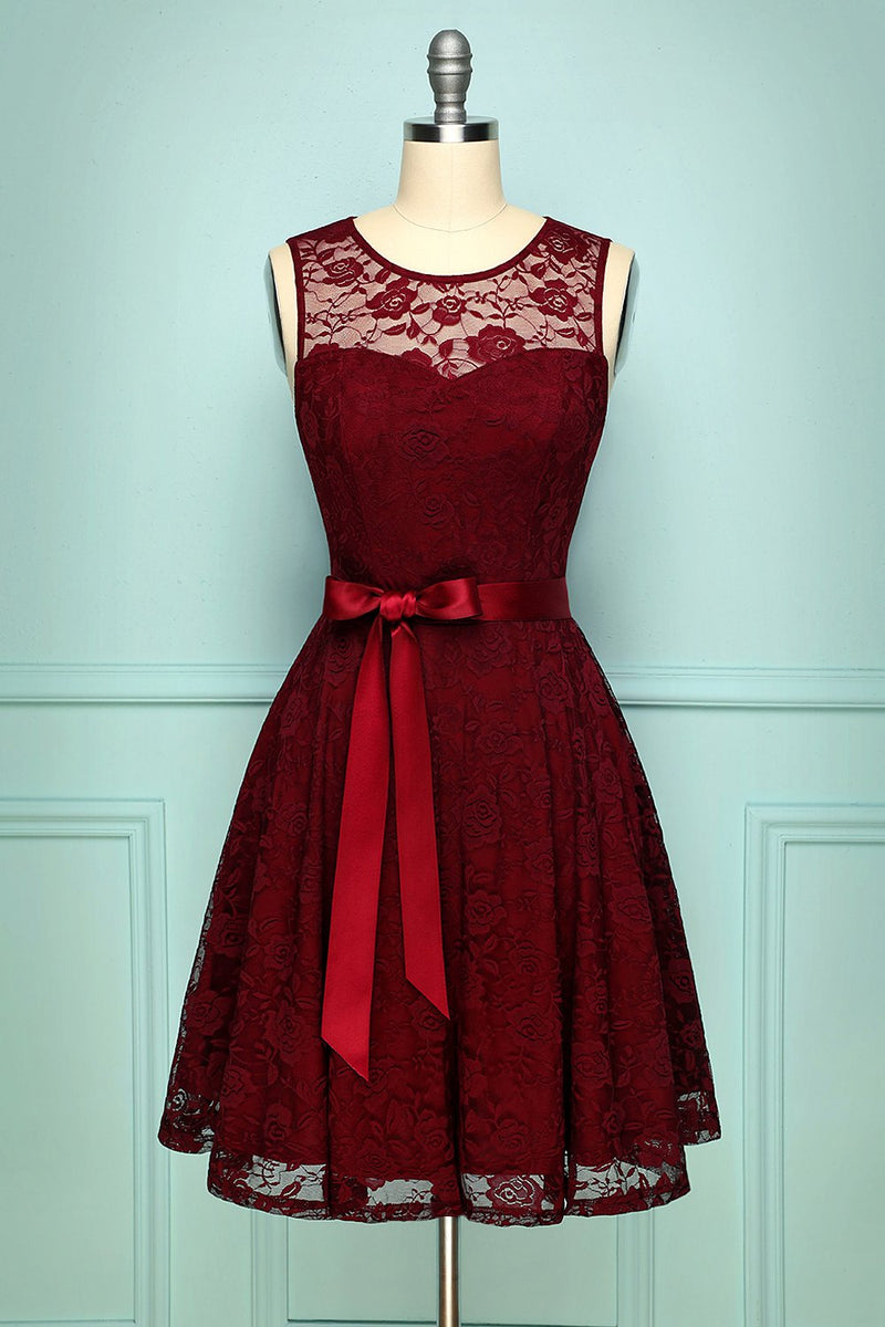 Load image into Gallery viewer, Burgundy Lace Dress