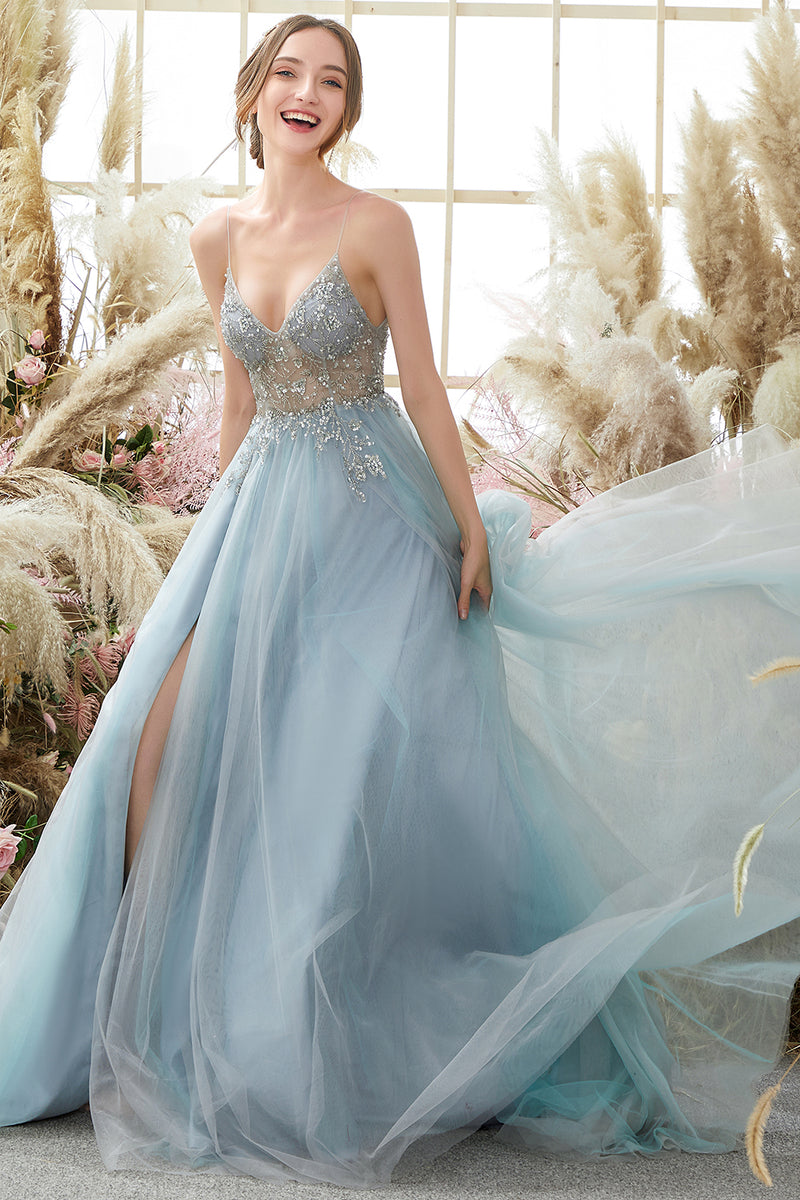 Load image into Gallery viewer, Light Blue Beading Tulle Prom Dress