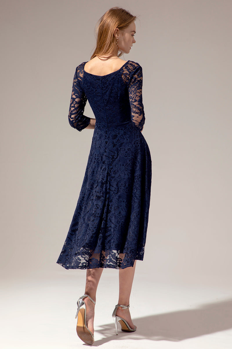 Load image into Gallery viewer, Navy Midi Lace Dress