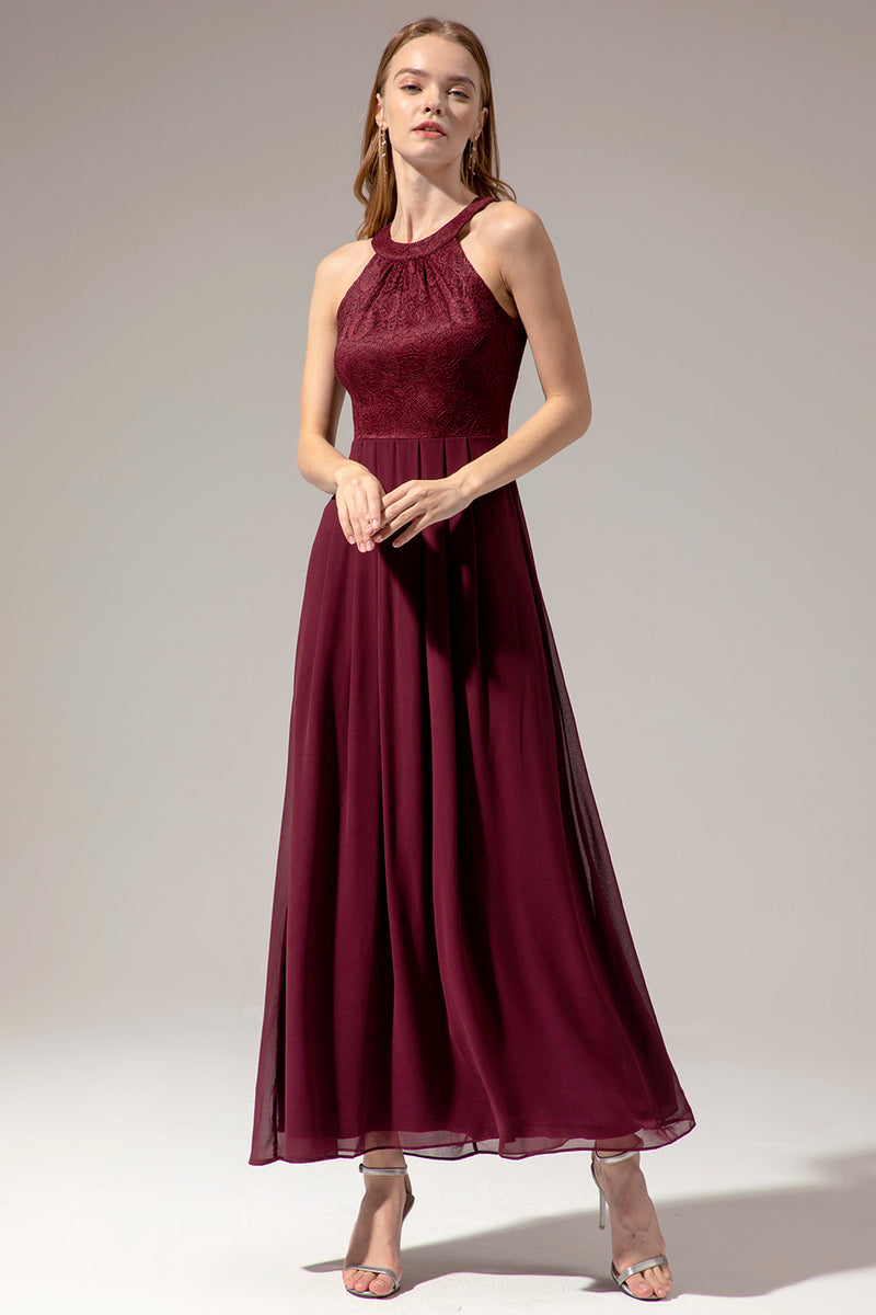 Load image into Gallery viewer, Burgundy Halter Long Lace Dress