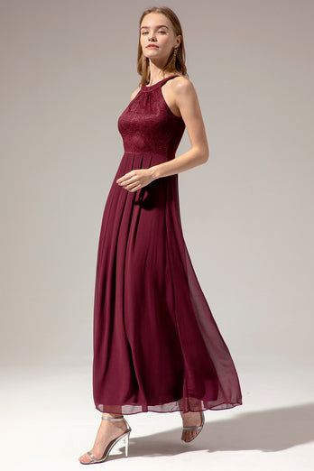 Burgundy Halter Long Lace Dress