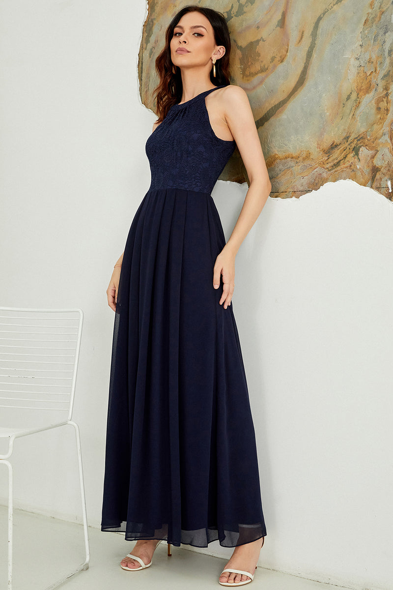 Load image into Gallery viewer, Navy Halter Long Lace Dress