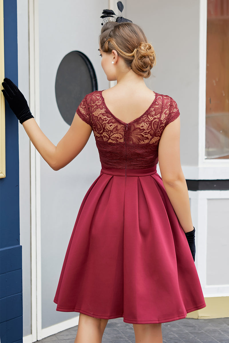 Load image into Gallery viewer, Burgundy Retro 1950s Dress With Lace