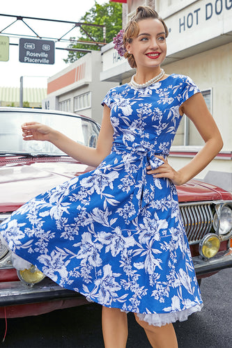 Blue Floral 1950s Swing Dress