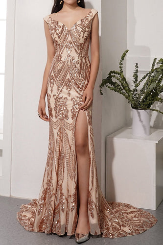 Champagne Sequins Long Prom Dress