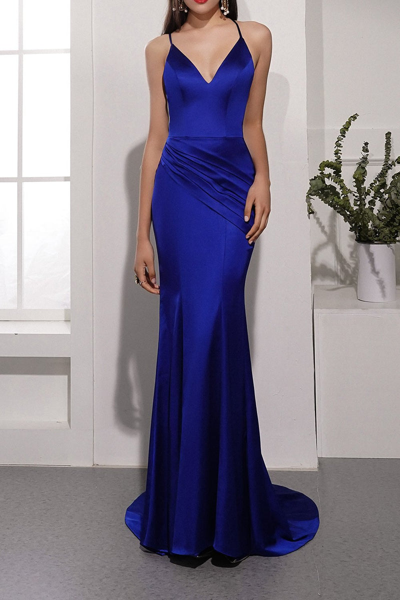 Load image into Gallery viewer, Royal Blue Satin Evening Dress