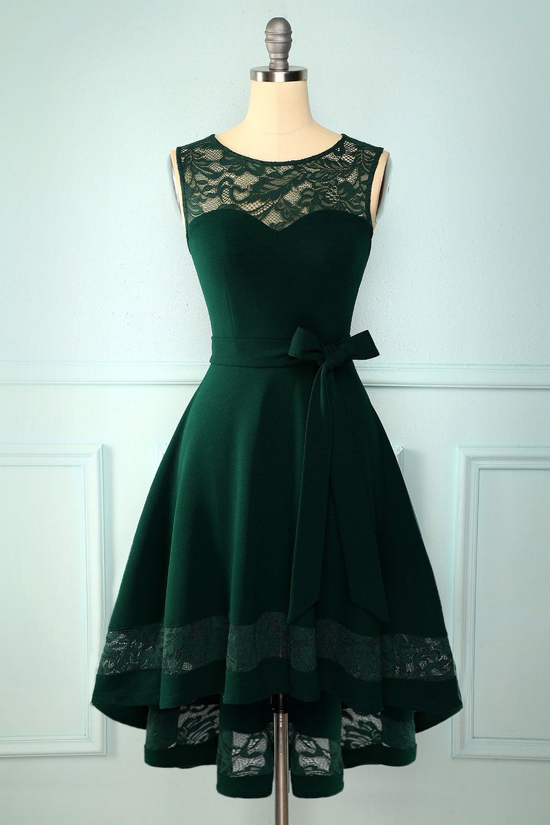 Load image into Gallery viewer, Dark Green High Low Dress