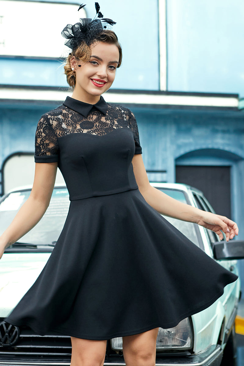 Load image into Gallery viewer, Black High Neck Vintage Dress