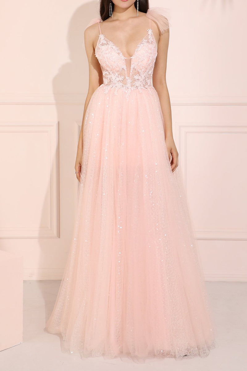 Load image into Gallery viewer, Glitter Pink Long Prom Dress