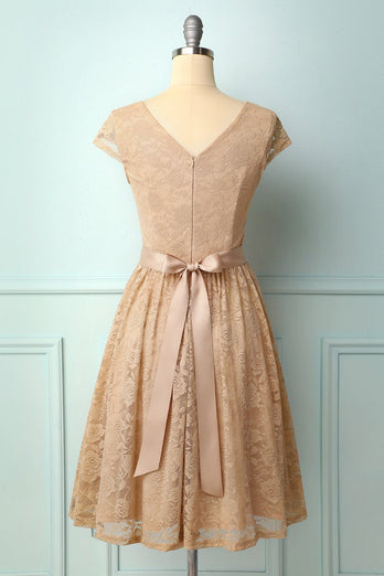 Champagne Cap Sleeves Lace Dress