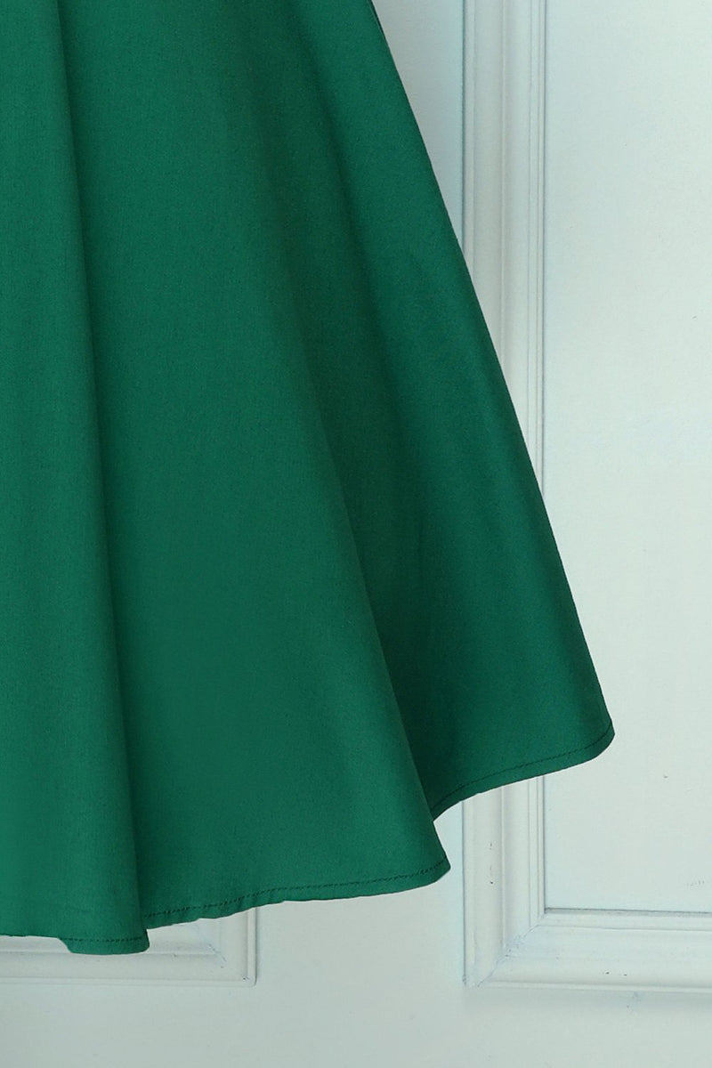 Load image into Gallery viewer, Green Asymmetrical Neck 1950S Dress