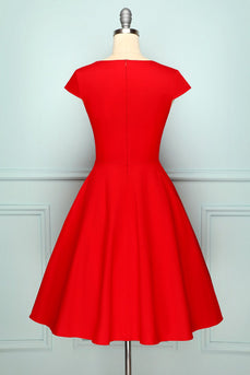 Red V Neck Swing Dress