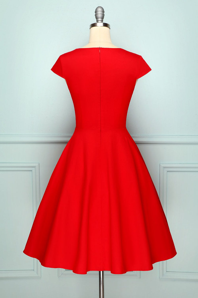Load image into Gallery viewer, Red V Neck Swing Dress