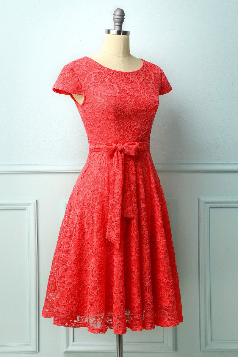 Load image into Gallery viewer, Coral Lace Midi Dress