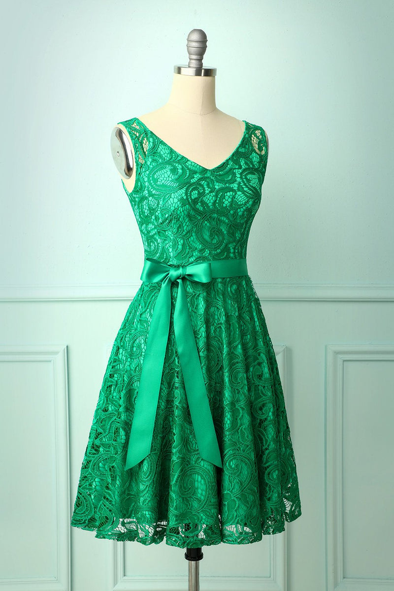 Load image into Gallery viewer, Green Lace Bridesmaid Dress