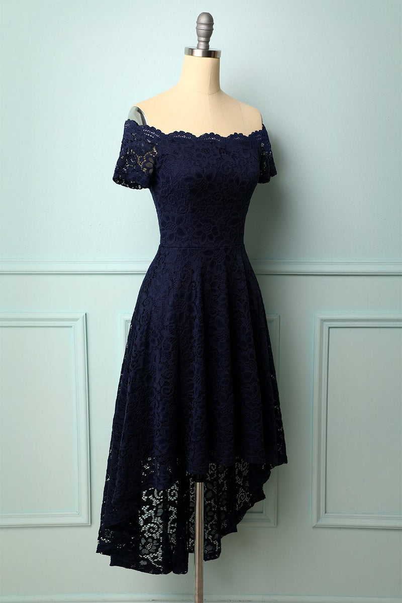 Load image into Gallery viewer, Navy Off the Shoulder Dress