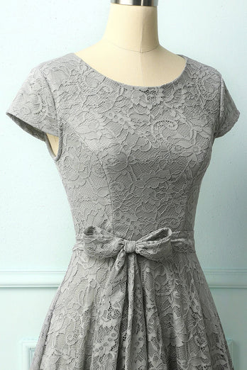 Grey Lace Midi Dress