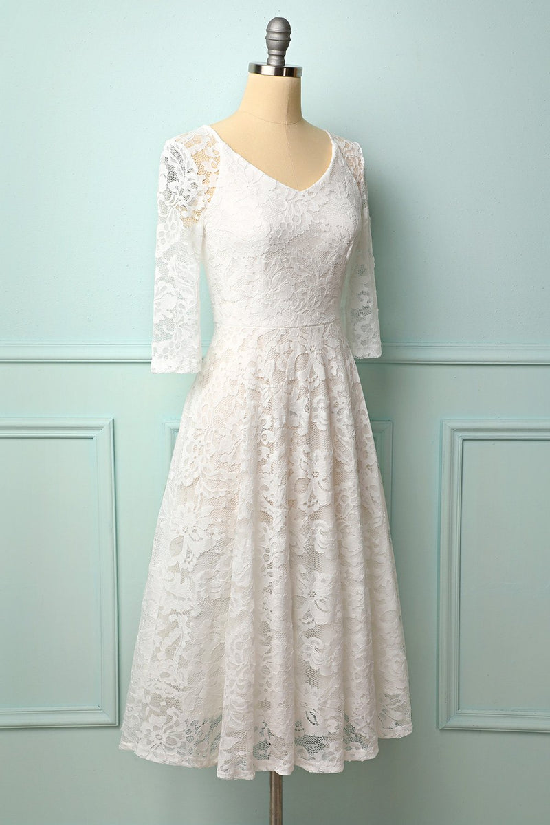Load image into Gallery viewer, White 3/4 Sleeves Midi Lace Dress