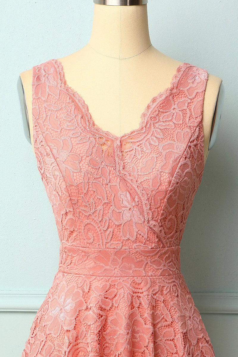 Load image into Gallery viewer, Blush V-Neck Lace Dress