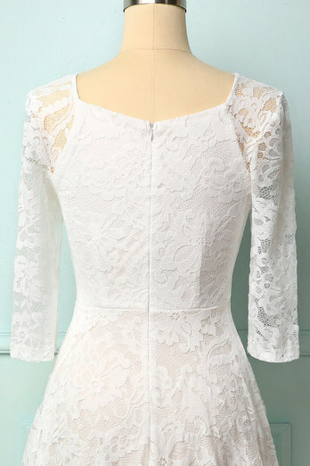 White 3/4 Sleeves Midi Lace Dress