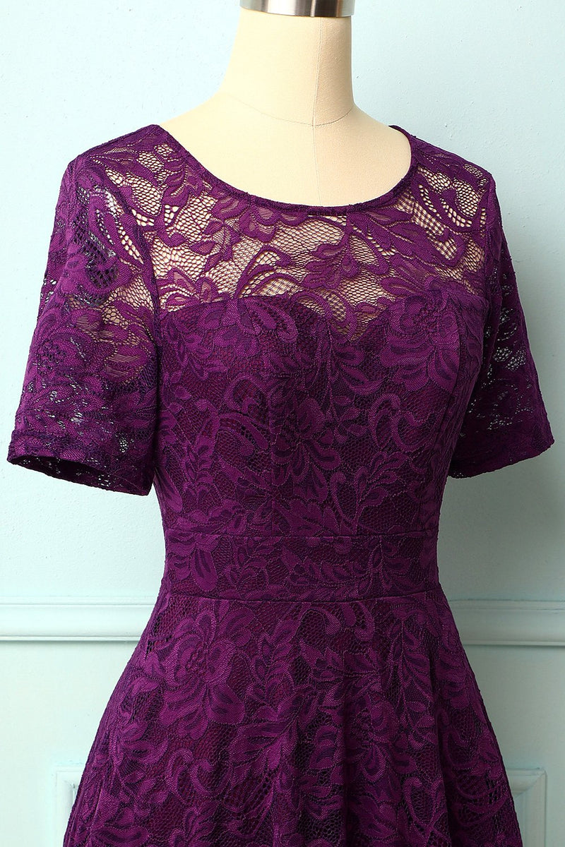 Load image into Gallery viewer, Grape Bridesmaid Lace Dress
