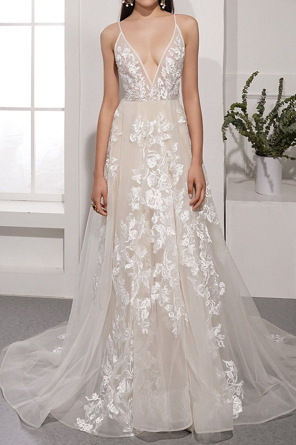 Ivory Deep V Neck Long Beach Wedding Dress