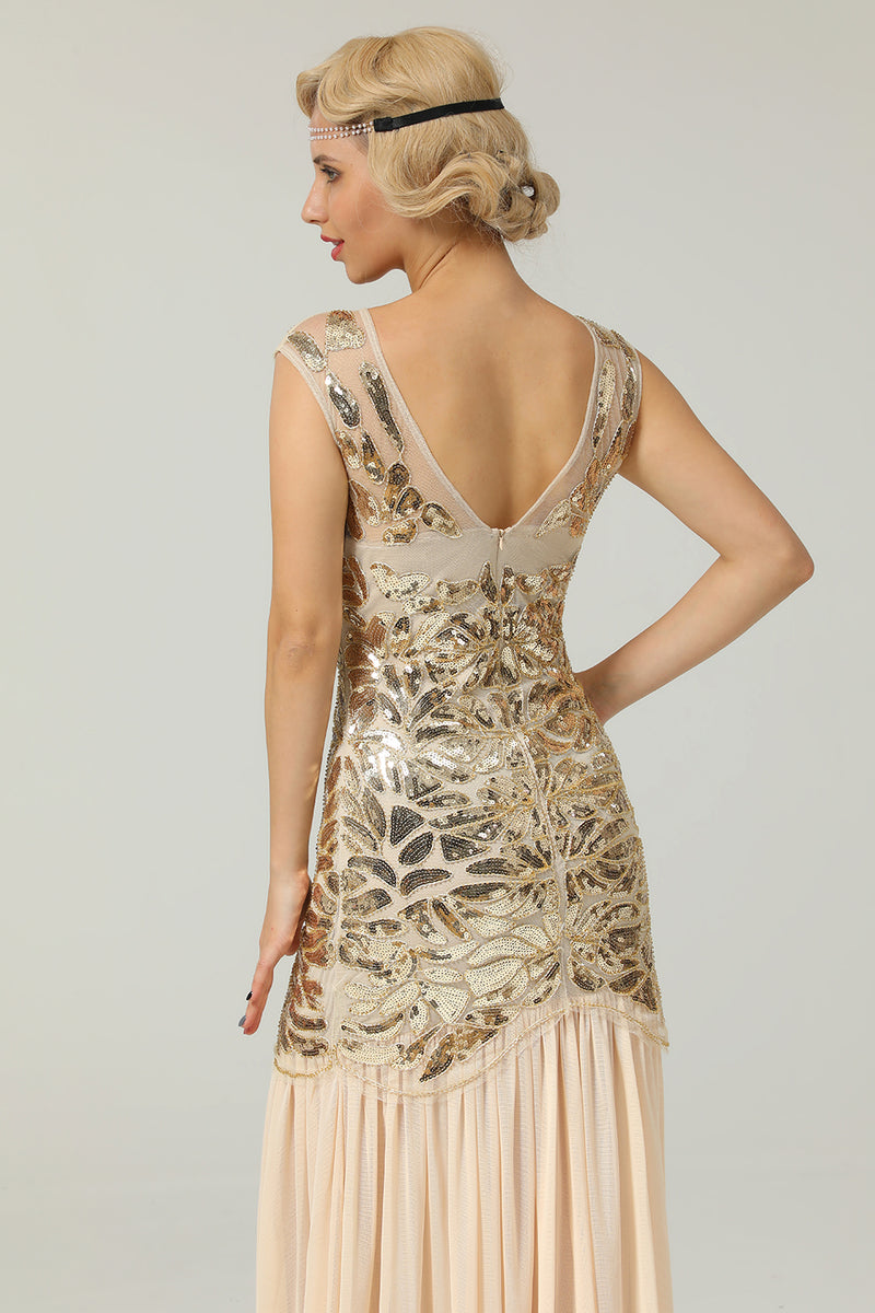 Load image into Gallery viewer, Champagne 1920s Flapper Glitter Dresses
