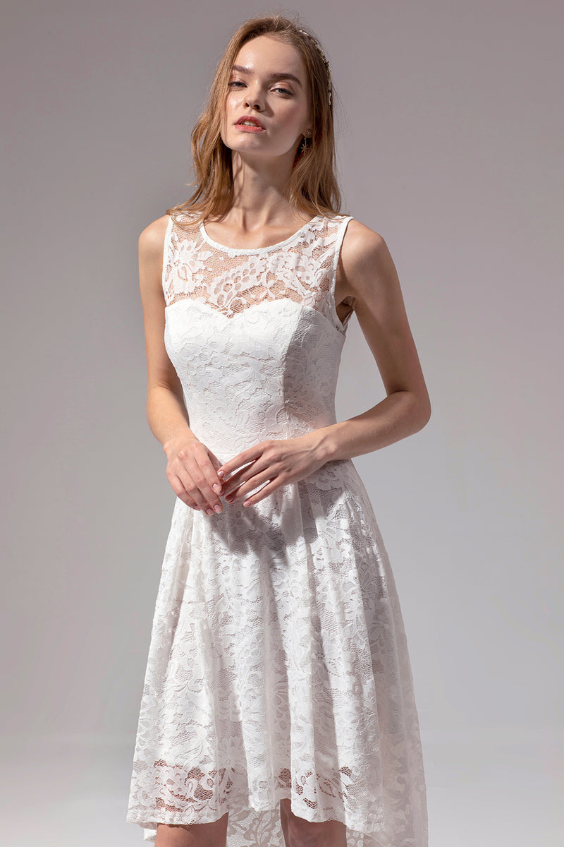Load image into Gallery viewer, Asymmetrical White Lace Dress