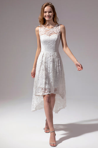 Asymmetrical White Lace Dress