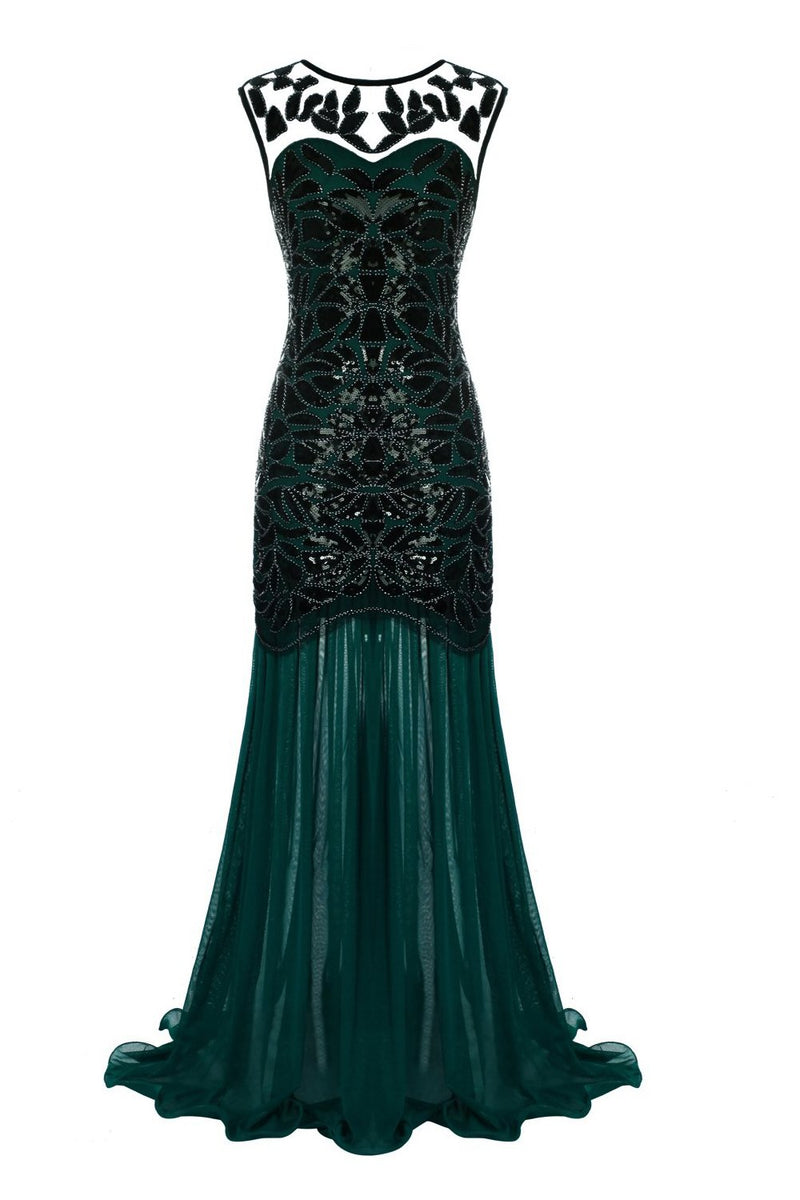 Load image into Gallery viewer, Dark Green 1920s Sequined Flapper Dress