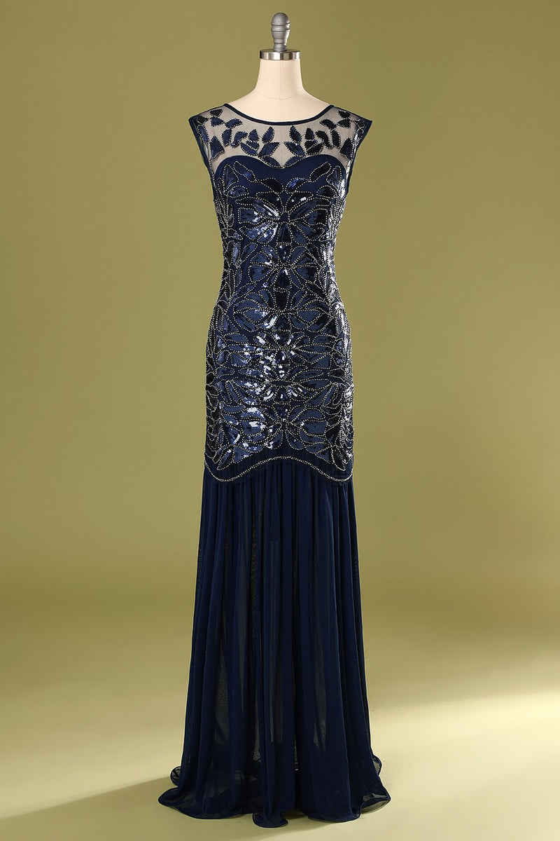 Load image into Gallery viewer, Navy 1920s Sequined Flapper Dress