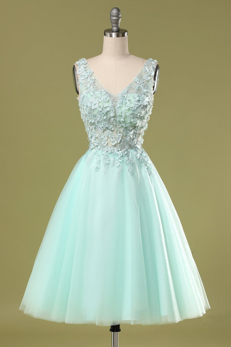 Load image into Gallery viewer, Mint Green Short Prom Dress With Appliques