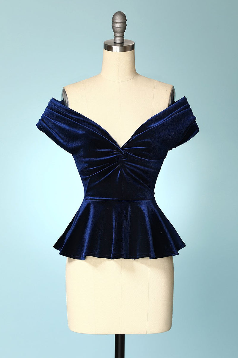 Load image into Gallery viewer, Navy Blue Velvet Cropped Tops