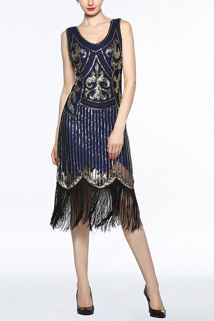 Women Navy V Neck 1920s Fringe Sequin Flapper Dress