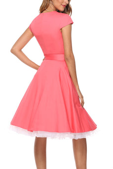 Coral Scoop Swing Dress