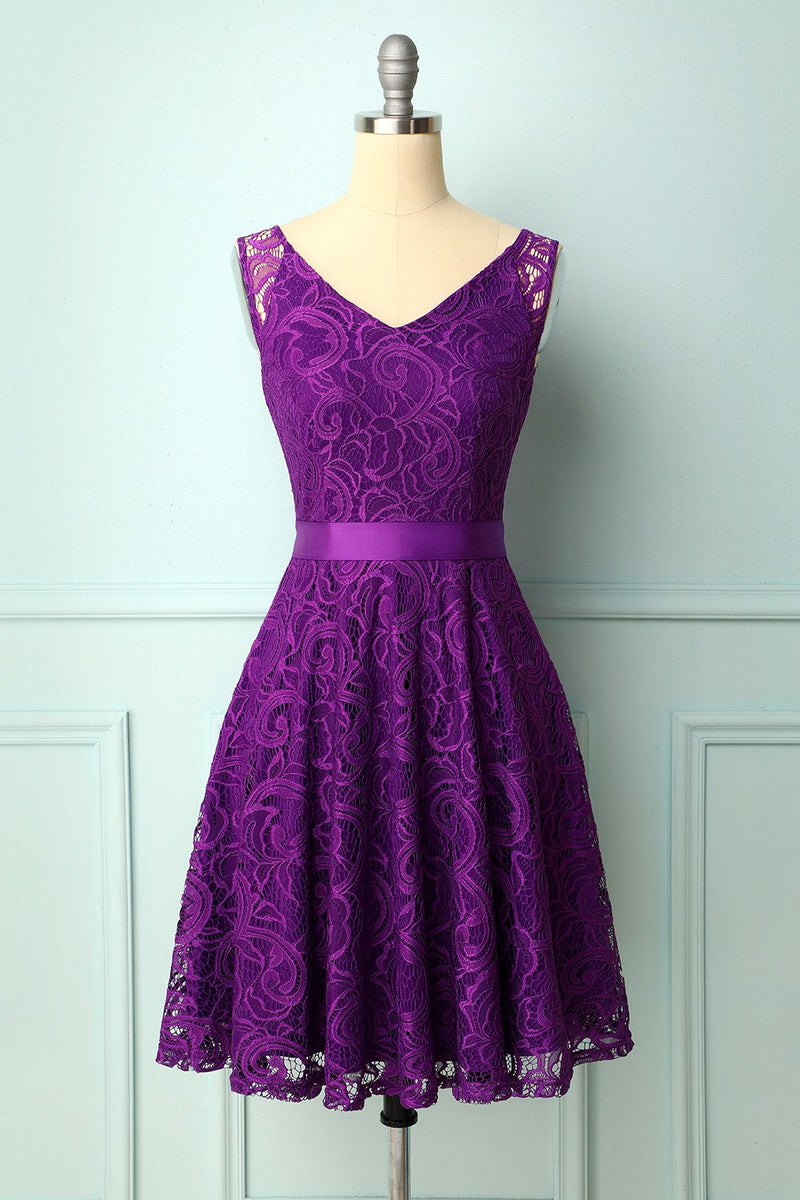 Load image into Gallery viewer, Purple Lace Bridesmaid Dress