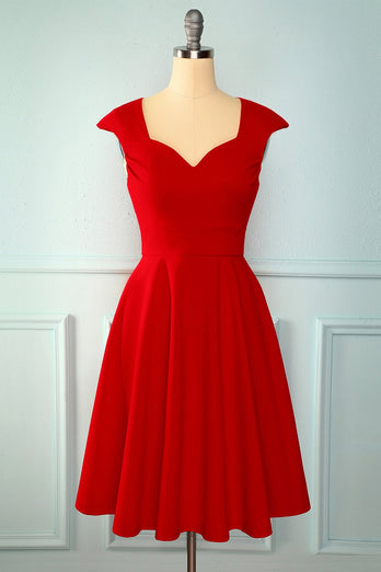Red Solid Homecoming Dress
