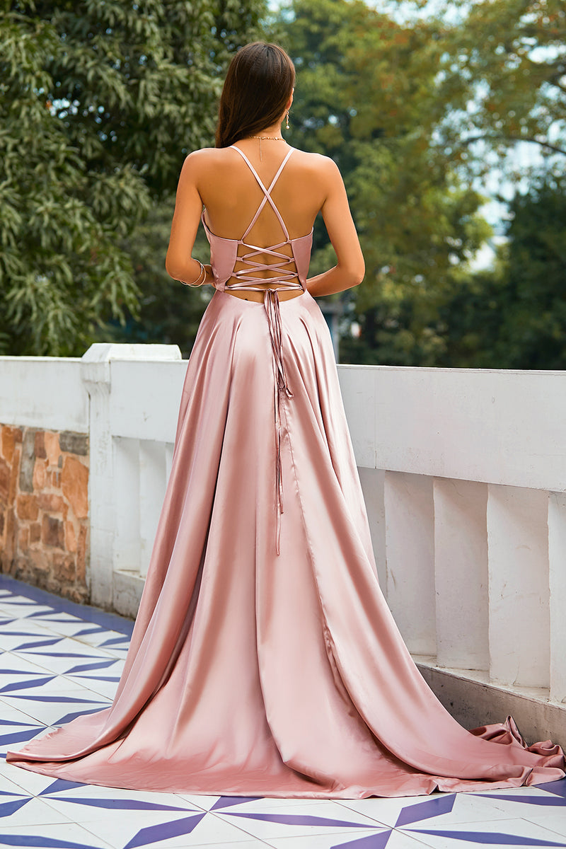 Load image into Gallery viewer, Pink Satin Prom Dress