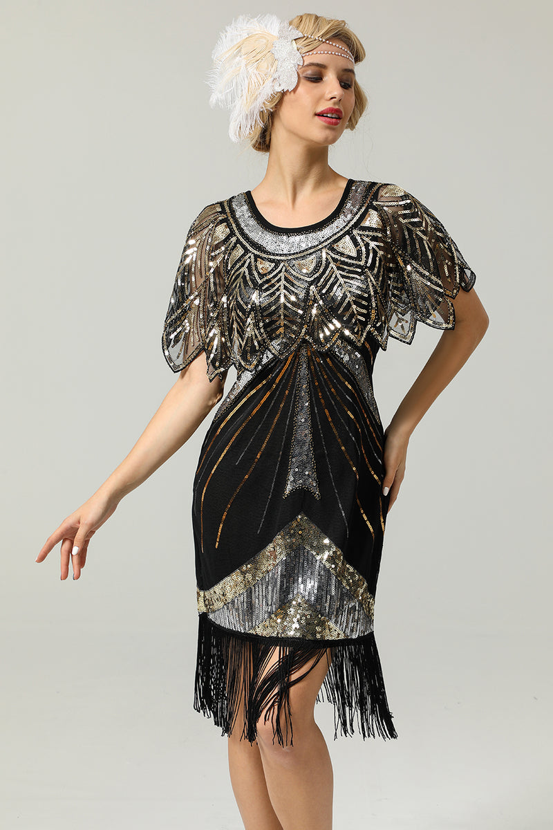 Load image into Gallery viewer, Black Sequin Glitter 1920s Cape