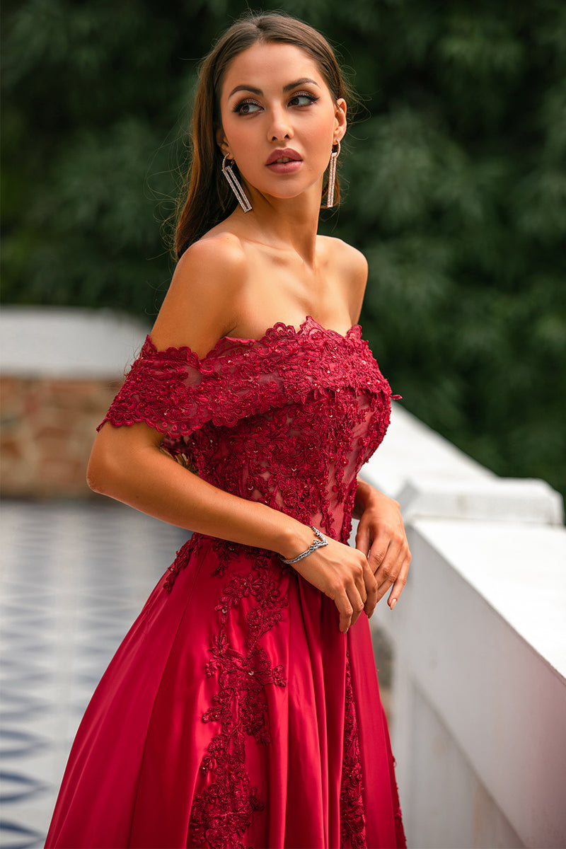 Load image into Gallery viewer, Red Off the Shoulder Long Prom Dress