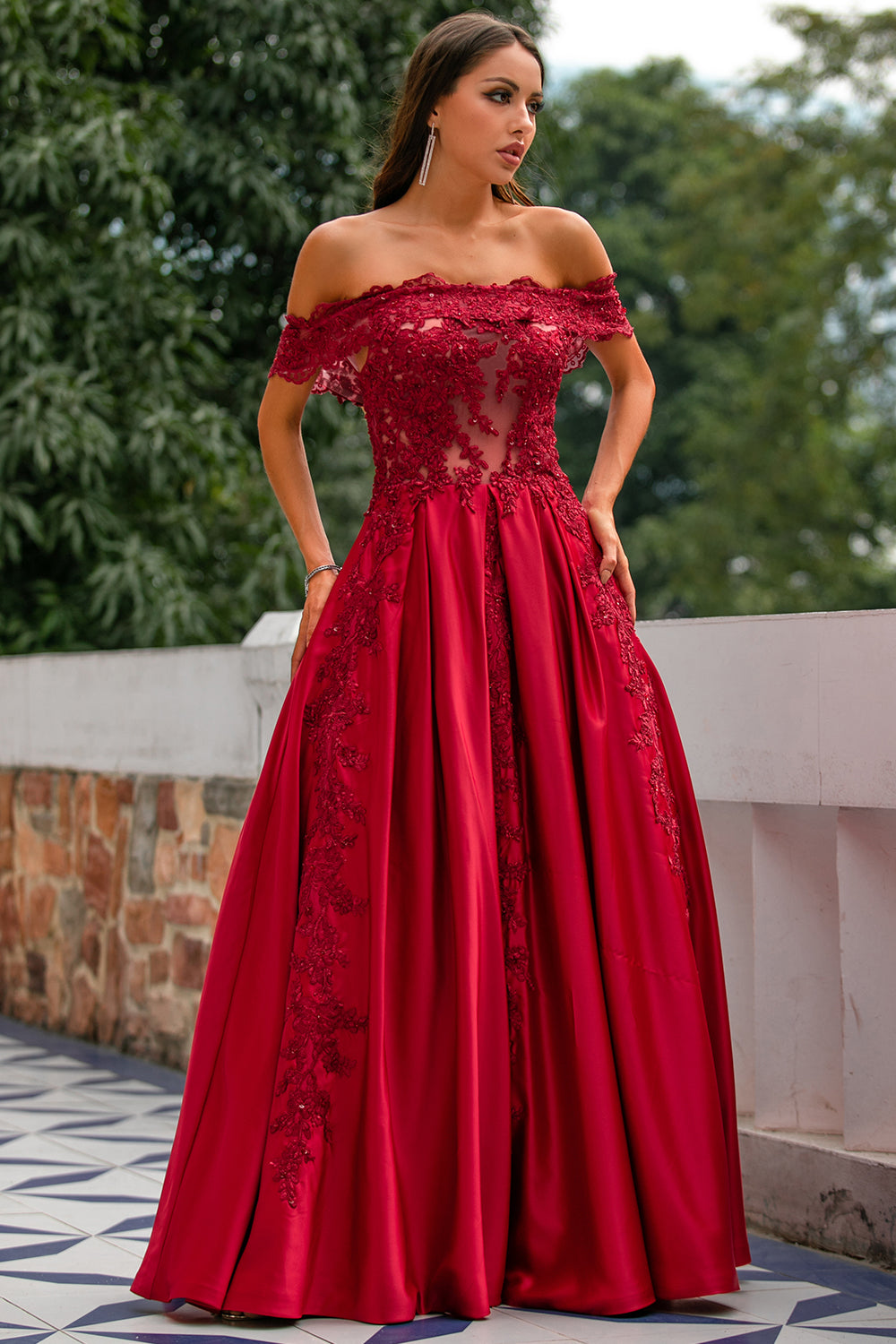 Red Off the Shoulder Long Prom Dress