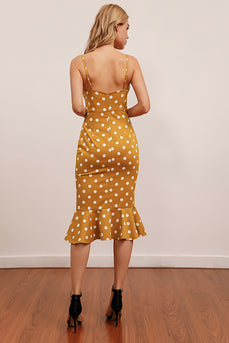 Yellow White Polka Dots Mermaid Dress