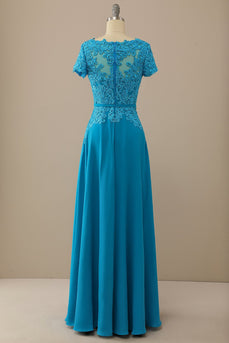 V Neck Peacock Blue Appliques Mother of Bridal Dress