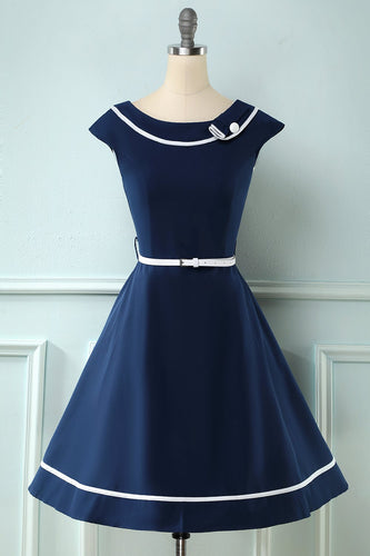 Navy Boat Neck Vintage 1950s Dress