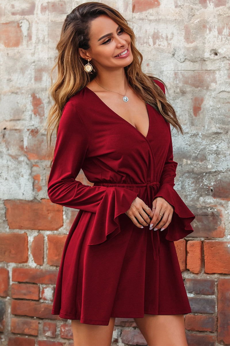 Load image into Gallery viewer, Burgundy V Neck Casual Dress