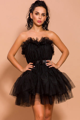 Black Tulle Short Party Dress
