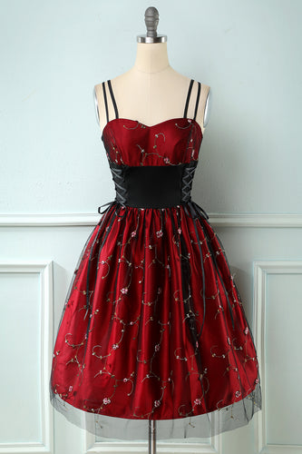 Burgundy Embroidered Retro Style Dress