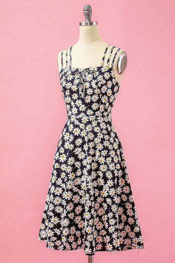 Black Floral Print Daisy Casual Dress