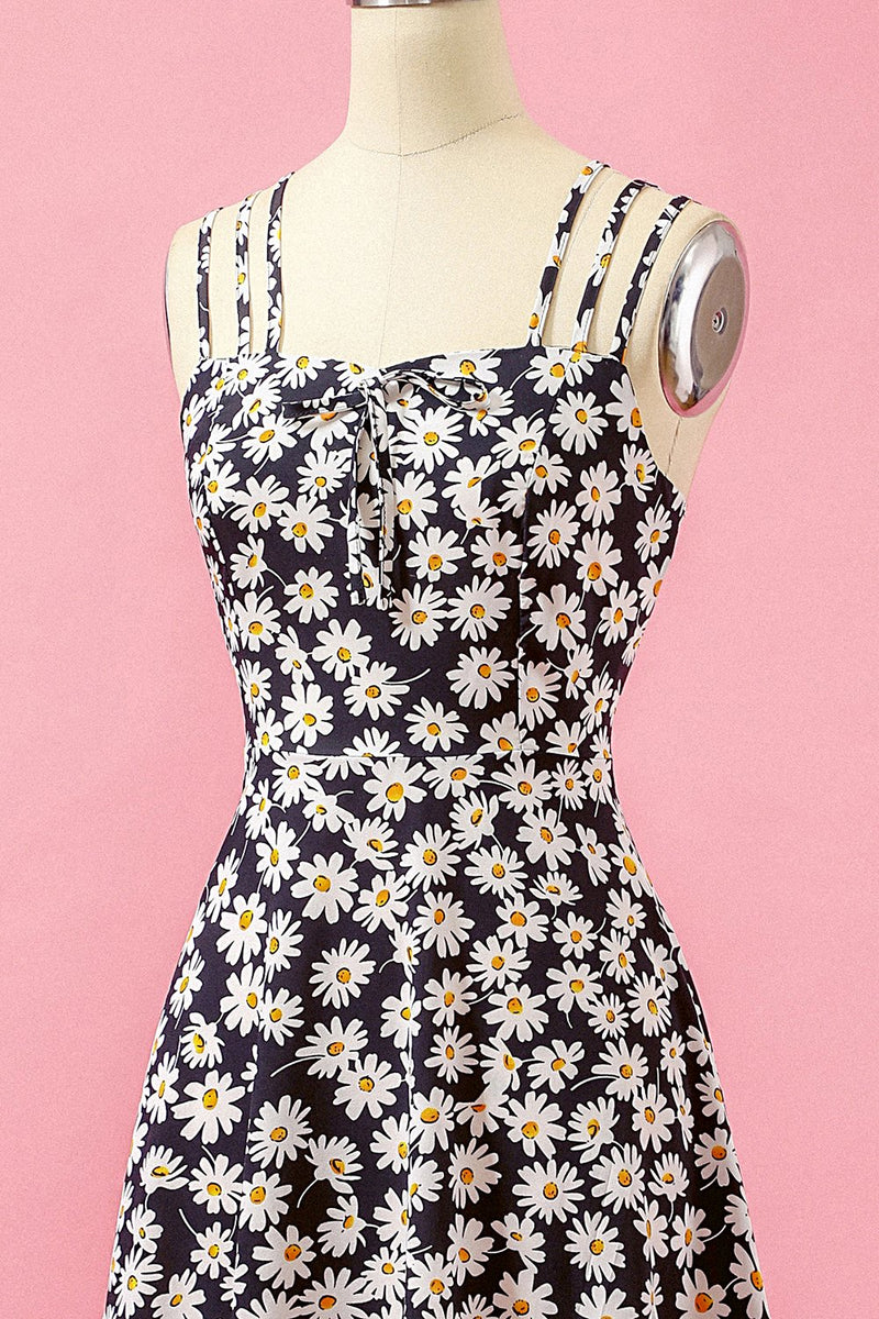 Load image into Gallery viewer, Black Floral Print Daisy Casual Dress